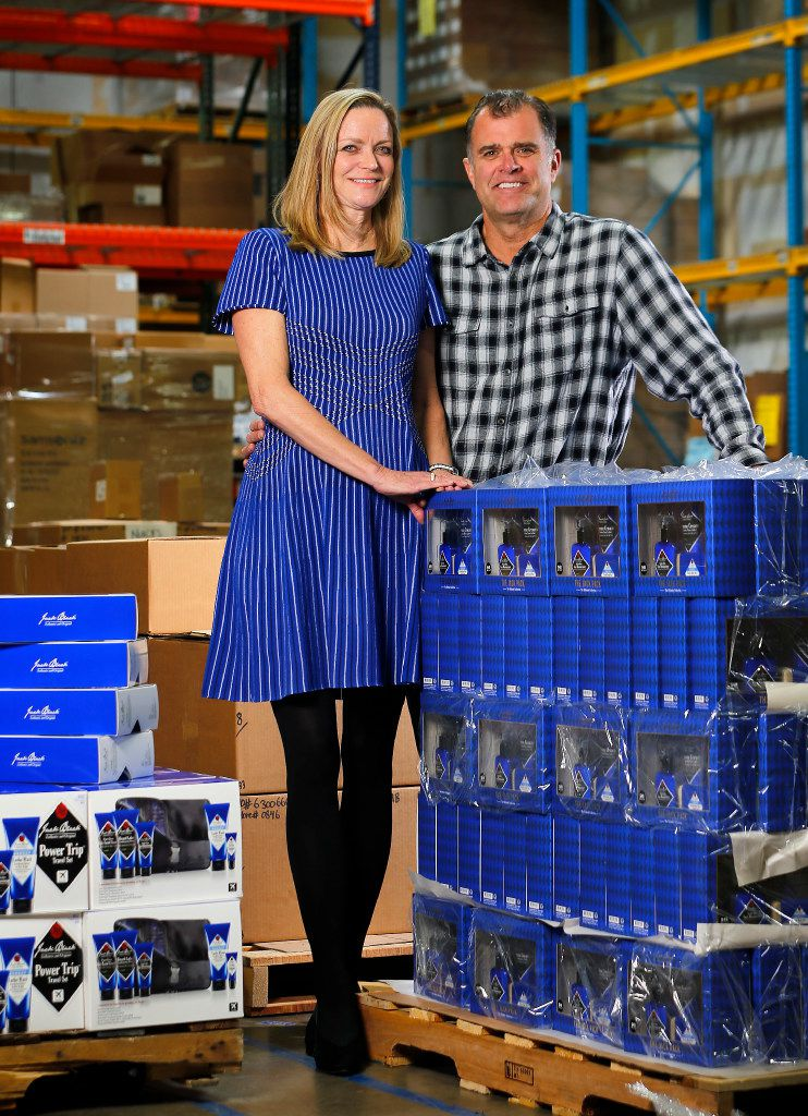 Curran Dandurand and her husband Jeff, co-founders with Emily Dalton (not pictured) of Jack Black men's personal care products are photographed in the Carrollton warehouse.