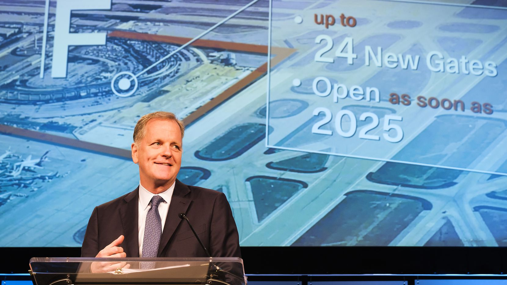 American Airlines CEO Doug Parker speaks after it was announced that the airport would be adding a new terminal during the annual state of the airport address at the Hyatt Regency DFW on May 20, 2019. The new terminal, named Terminal F, will add 24 gates and open as soon as 2025.