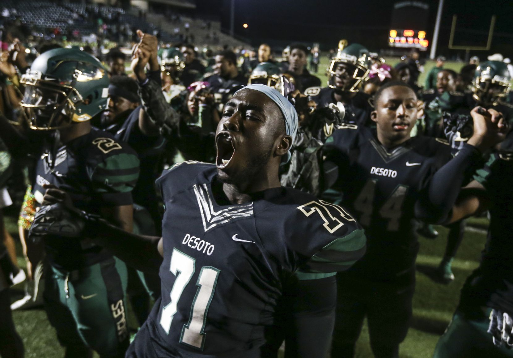 Leroy Hawkins III celebrated following the DeSoto Eagles' 40-21 win over Mansfield Summit at Eagle Stadium last Oct. 26.