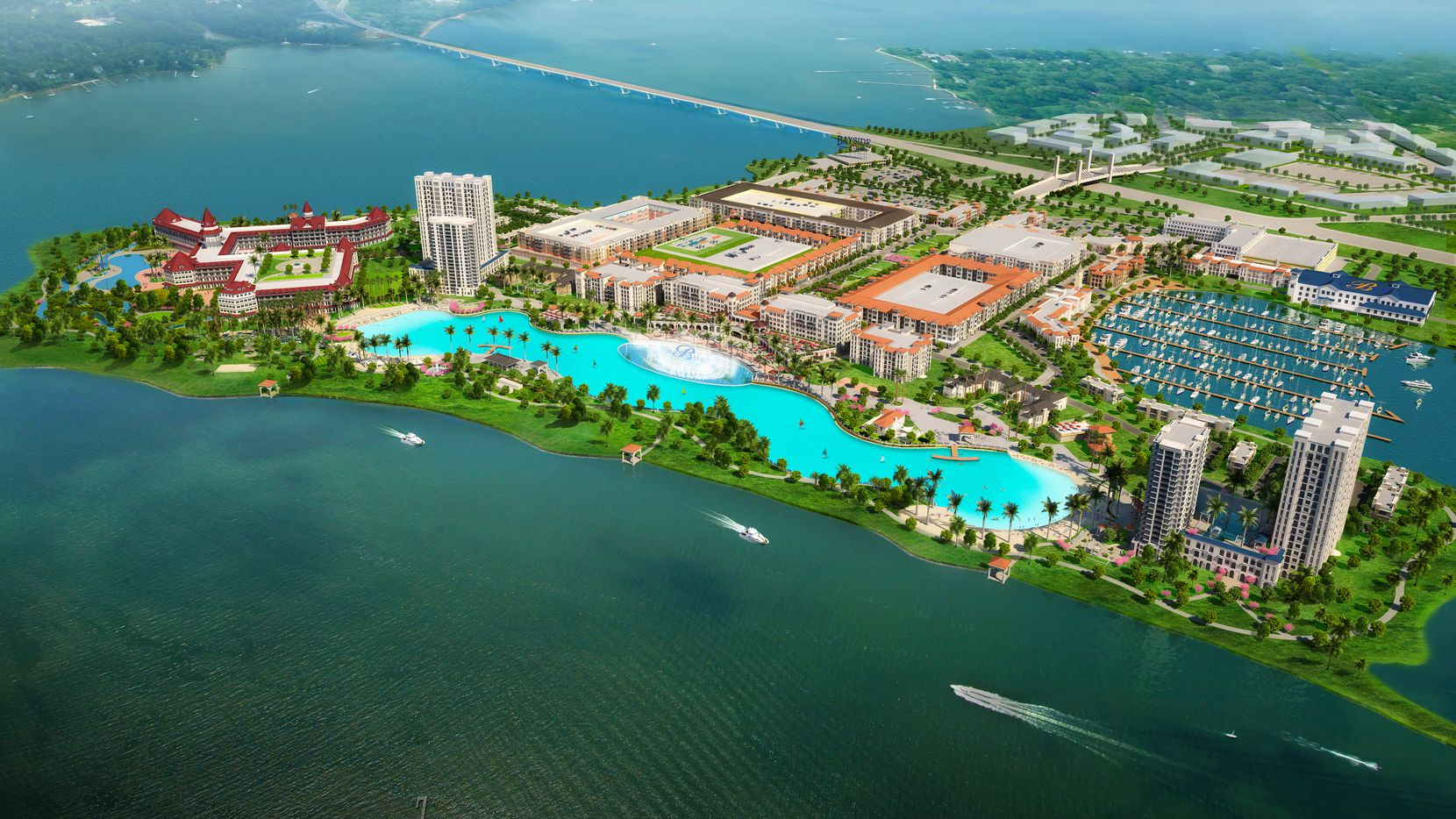 The $1 billion Bayside project was originally planned with commercial and residential construction surrounding a Crystal Lagoon water feature.