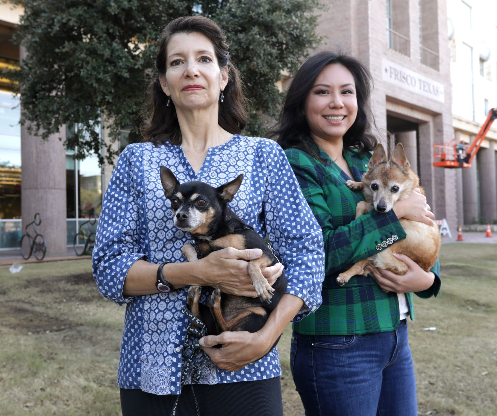 Rebecca Whitehouse, left, and Joy Lucas are two of the animal advocates who have tried to persuade Frisco to ban pet stores in the city limits.