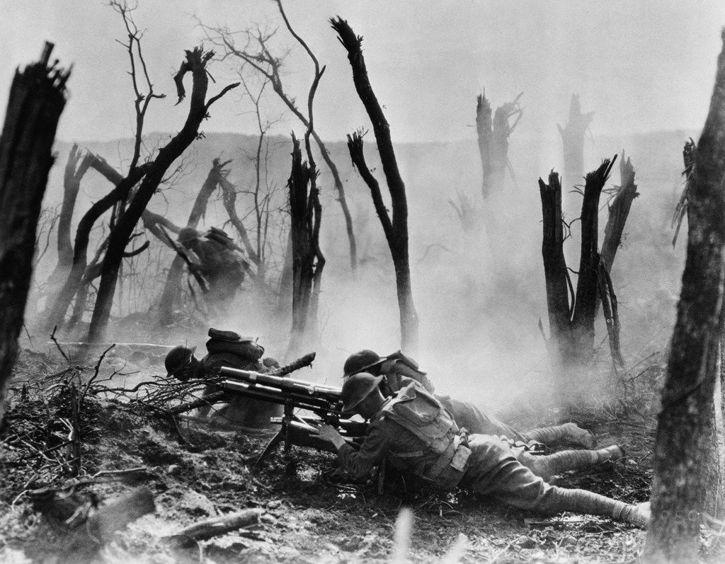 American soldiers advance against German positions during World War I, in 1918.