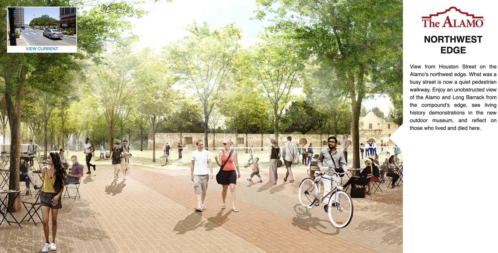 """View of a pedestrian walkway planned at the Alamo's northwest edge. On Thursday, Lt. Gov. Dan Patrick criticized state Land Commissioner George P. Bush's handling of Alamo restorations. The latest architectural design, Patrick said, """"looks like a massive urban park with hundreds of trees — more like Central Park in New York City than Alamo Plaza."""""""