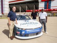Texas Motor Speedway president Eddie Gossage, former Cowboy Emmitt Smith and Jesse Iwuji unveil Notable.Live paint scheme on No. 99 B.J. McLeod Motorsports Chevrolet for Oct. 24 NASCAR Xfinity Series O Reilly Auto Parts 300 at Texas Motor Speedway.Texas Motor Speedway President Eddie Gossage, left, NASCAR Driver Jesse Iwuji, center, and former Dallas Cowboys running back and NASCAR team sponsor Emmitt Smith, right, unveil Iwuji   s No 99 Notable Live Chevrolet car at Texas Motor Speedway on Thursday, October 22, 2020 in Fort Worth, Texas. (Brandon Wade/Getty Images for Texas Motor Speedway) ORG XMIT: 775580512