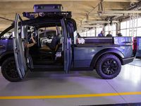 The Canoo pickup truck was shown at Texas Motor Speedway in Fort Worth.