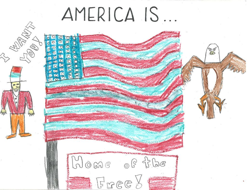 Uncle Sam and a bald eagle make an appearance in a drawing by Cooper Whitson, 11.
