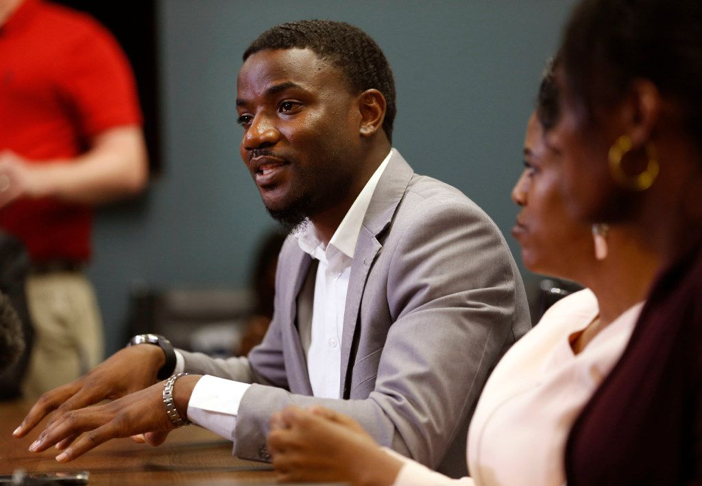 Dominque Alexander, president and founder of Next Generation Action Network, speaks during a press conference with Latasha Nelson and her two sons Trayvon, 14,  and Broderick 16 in Dallas on Thursday, July 13, 2017. Nelson and her sons were involved in an altercation with Arlington Police that resulted in the arrest of her son Trayvon and the refusal by the officer to tell her where they were taking him. (Rose Baca/The Dallas Morning News)