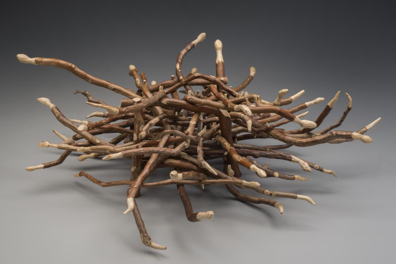 Step Away from the Box (2013), made of crepe myrtle limbs. 7.75 H x 22 W x 19.5 D inches. The sculpture portrays 33 snakes intertwining around a box.
