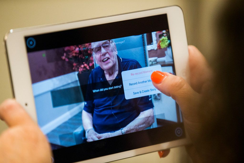 Bob Stiegler is interviewed by Vibrant Life Director Lynn Brink using the OneDay app for senior citizens on July 24 at The Village at Mapleshade in Plano. (Ashley Landis/Staff Photographer)