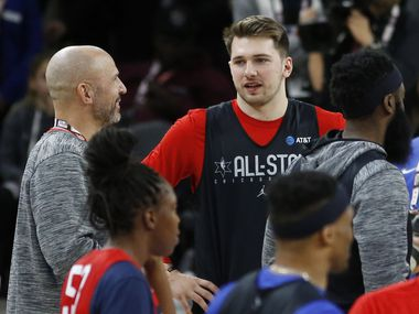 Team LeBron's Dallas Mavericks forward Luka Doncic (77) talks with Los Angeles Lakers assistant coach Jason Kidd during practice for the NBA All-Star 2020 game at Wintrust Arena in Chicago on Saturday, February 15, 2020.