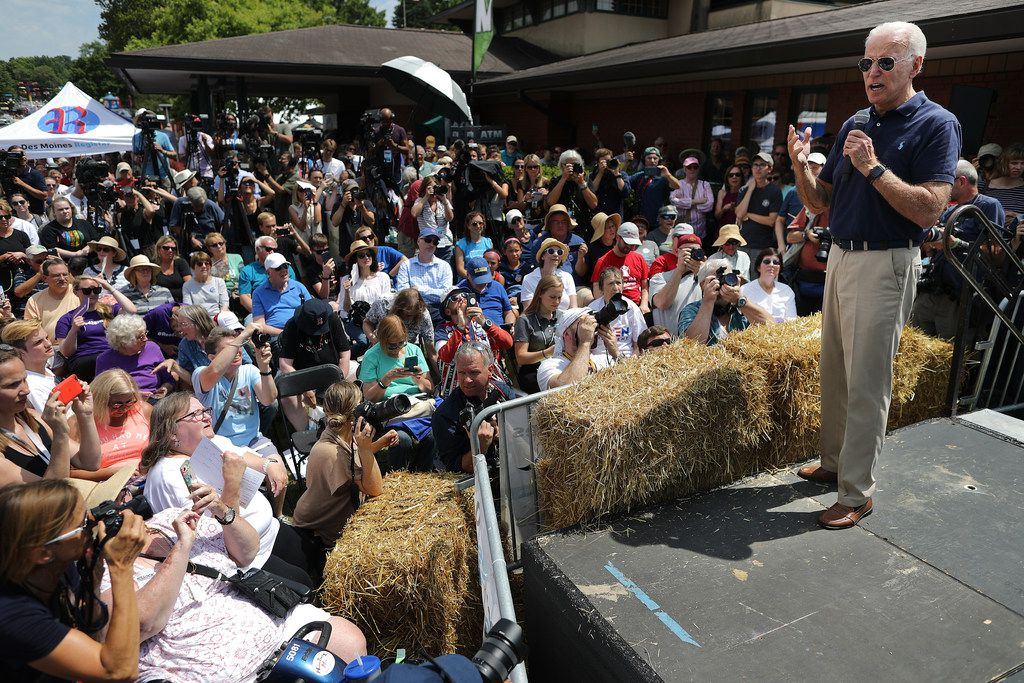 Former Vice President Joe Biden delivers a 20-minute campaign speech at the Des Moines Register Political Soapbox at the Iowa State Fair on Aug. 8, 2019, in Des Moines.