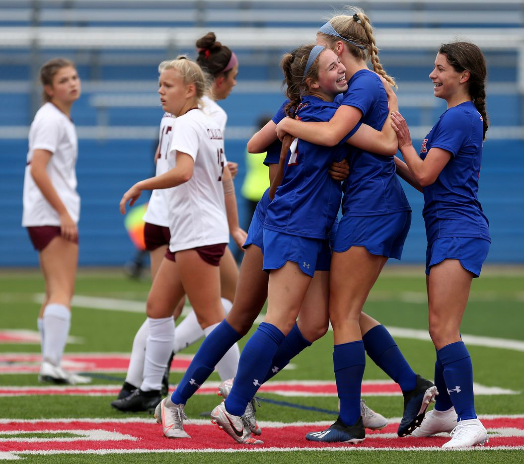Midlothian Heritage players cheer as they celebrate a goal against Calallen during their UIL 4A girls State championship soccer game at Birkelbach Field on April 16, 2021 in Georgetown, Texas.  (Thao Nguyen/Special Contributor)