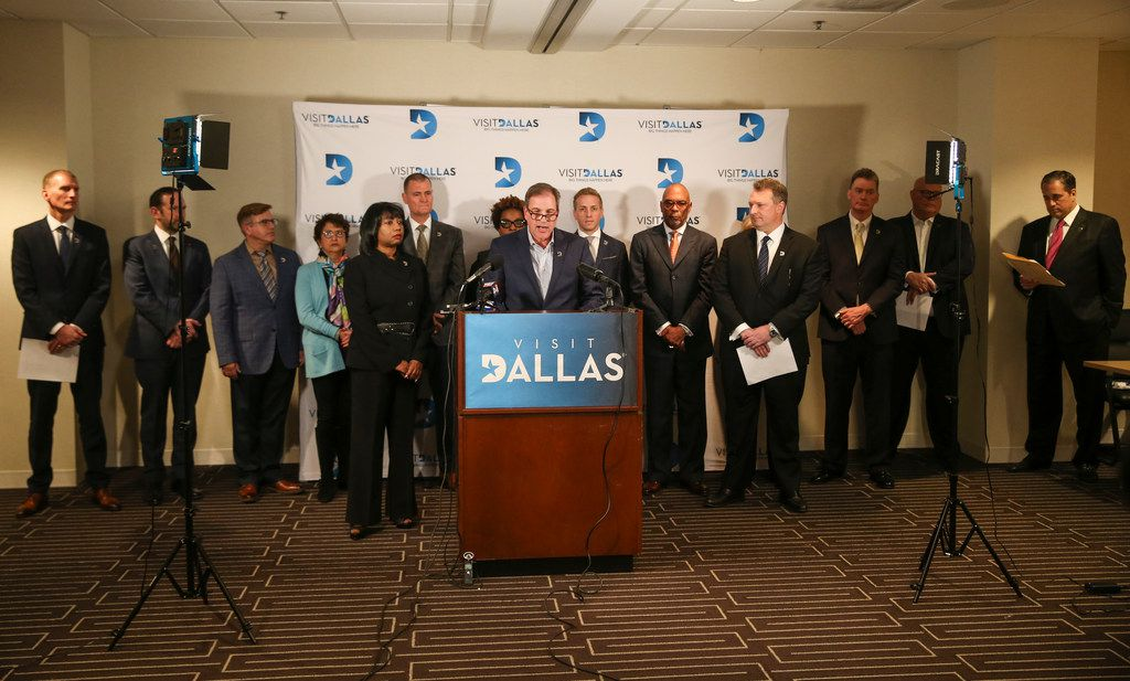 Mark Woelffer, VisitDallas Board Chair and General Manager at Sheraton Dallas Hotel, speaks during a press conference Wednesday, Jan. 9, 2019 at the VisitDallas headquarters in Dallas. (Ryan Michalesko/The Dallas Morning News)