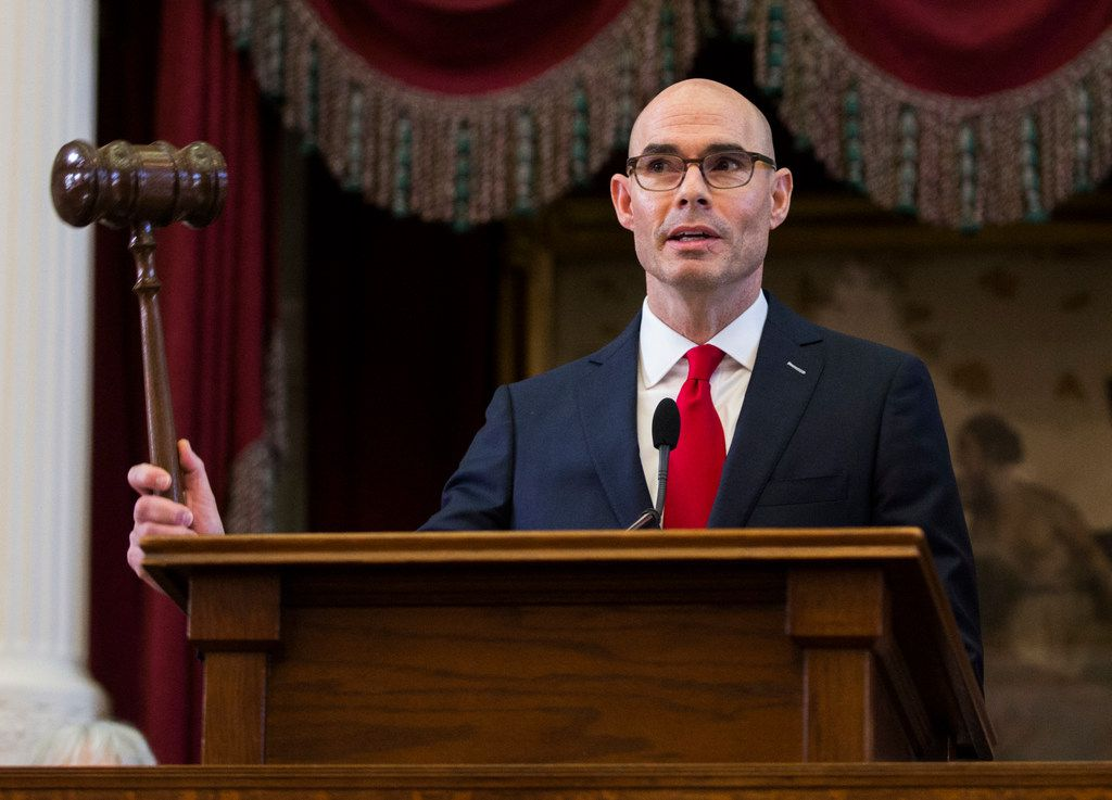Speaker of the House Dennis Bonnen of Angleton bangs the gavel on opening day of the 86th Texas Legislature on Jan. 8, 2019, at the Texas state Capitol in Austin. (Ashley Landis/The Dallas Morning News)