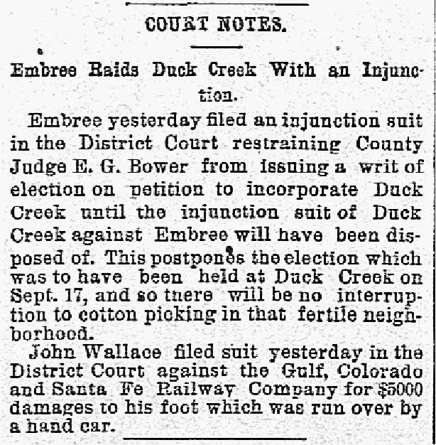The Dallas Morning News snip was published on Aug. 28, 1887.