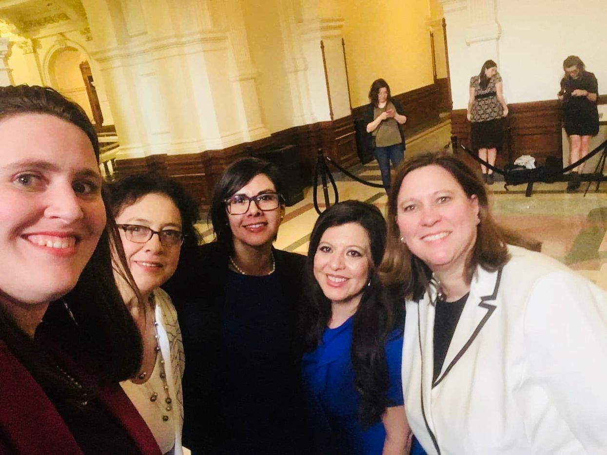 (From left) State Reps. Erin Zwiener of Driftwood, Celia Israel of Austin, Jessica González of Dallas, Mary González of El Paso and Julie Johnson of Carrollton pose in the Texas Capitol in Austin on Thursday, Jan. 10, 2019. The five women have decided to form the Texas Legislature's first ever caucus for lesbian, gay, bisexual and transgender members.