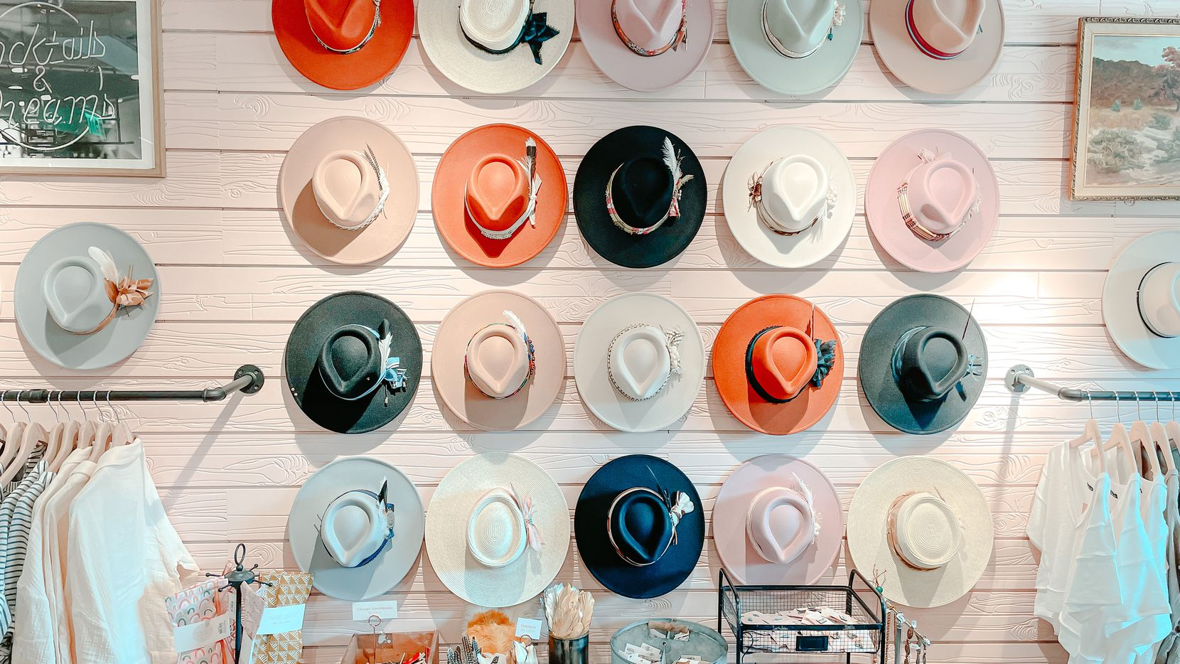 A wall of hats at the hotel boutique called Wide Brim inside the Hotel Drover on Mule Alley in Fort Worth. It's one of the new retail concepts created by Dallas-based Flea Style's Brittany Cobb.
