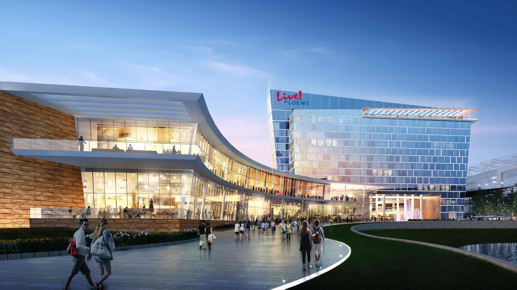 Artist's rendering of Live! by Loews hotel and convention center coming to Texas Live.