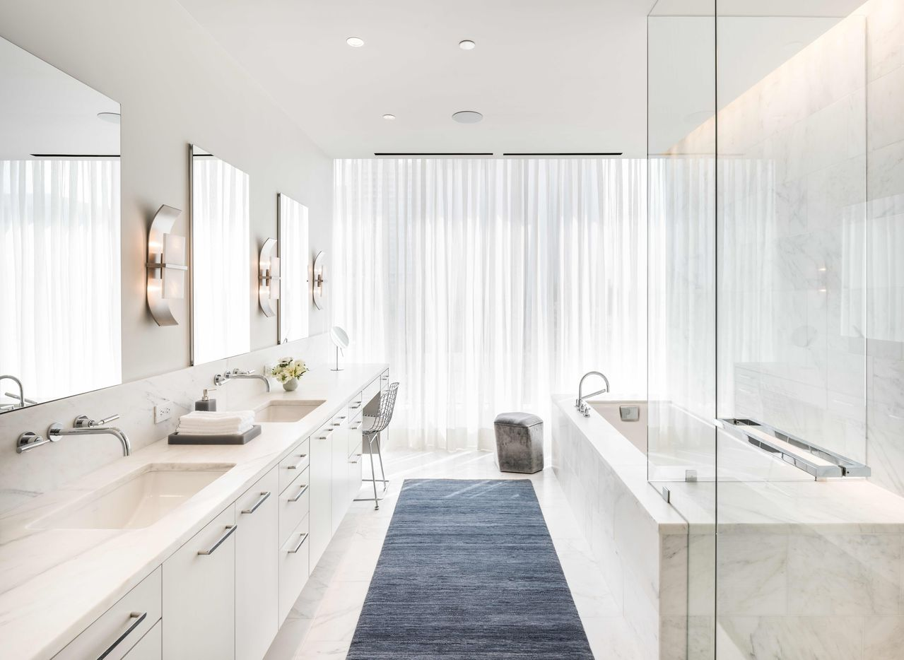 The model bathroom in the Hall Arts Residences condo tower in downtown Dallas.