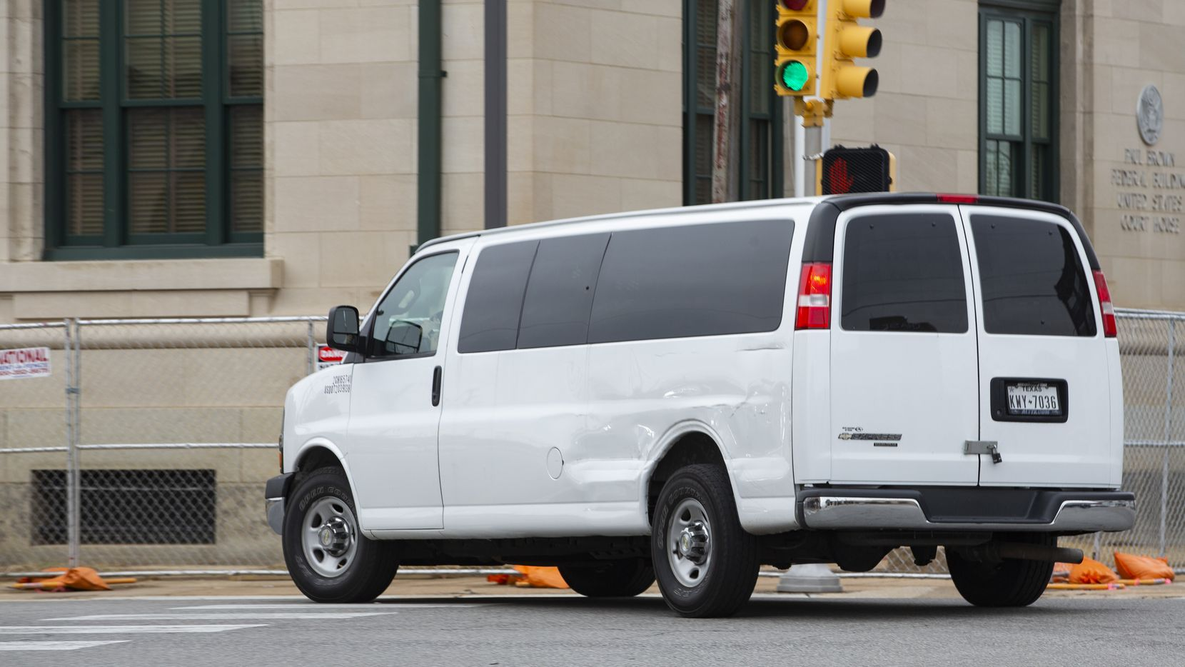 A prisoner transport van leaves the United States District Court for the Eastern District of Texas following the detention hearing for Troy Anthony Smocks, 58, in Sherman on Thursday, Jan. 21, 2021.