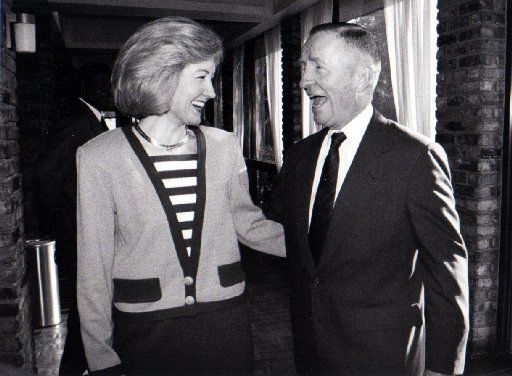 In 1993, Kay Bailey Hutchison and Ross Perot shared a laugh after United We Stand America announced its members' support for her in the U.S. Senate race.