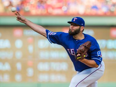 Texas Rangers starting pitcher Lance Lynn pitches during the first inning against the Detroit Tigers at Globe Life Park on Friday, Aug. 2, 2019, in Arlington.