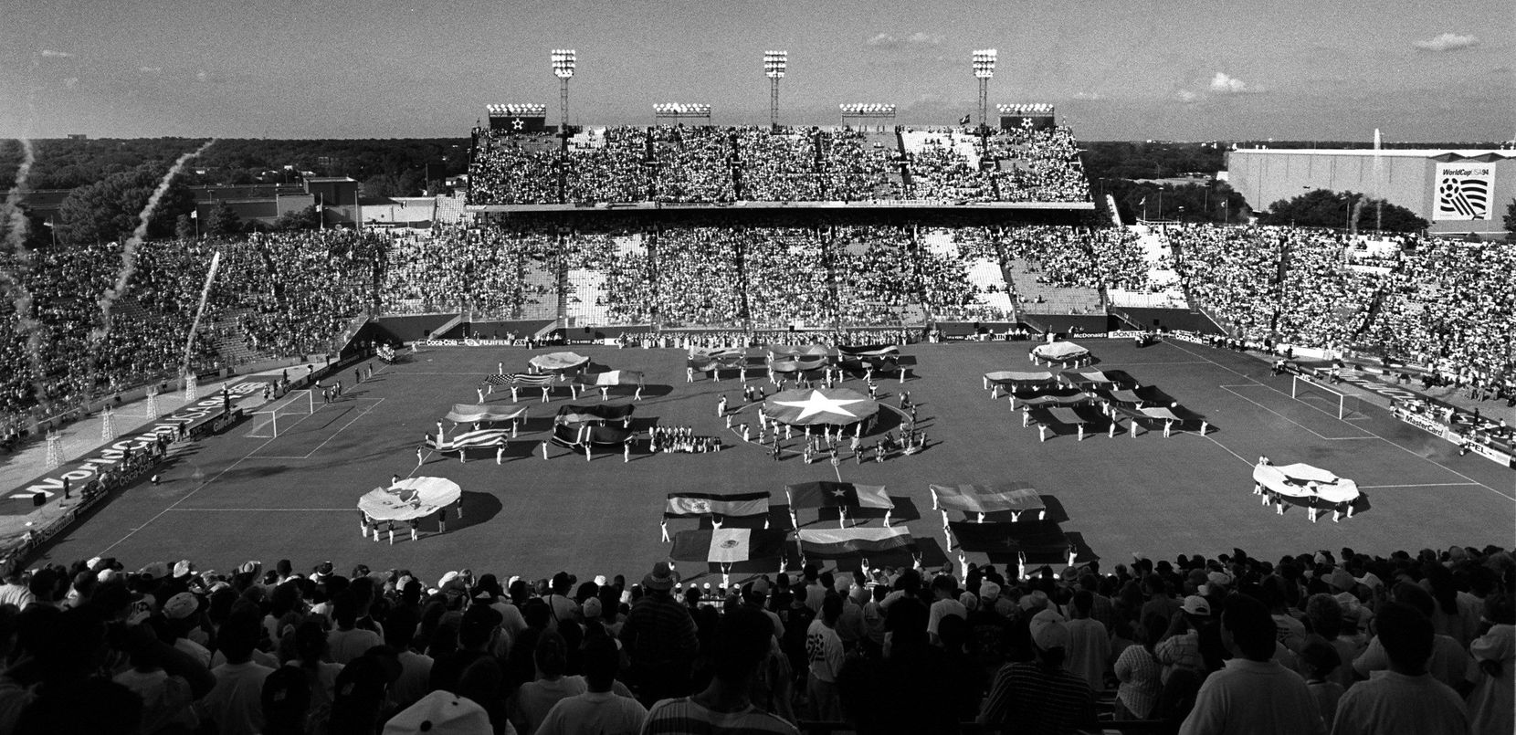 FILE — June 17,1994 The openinmg ceremonies in the Cotton Bowl of the World Cup. The first game in Dallas was  between Spain and South Korea. Spain jumped into a 1-0 lead.