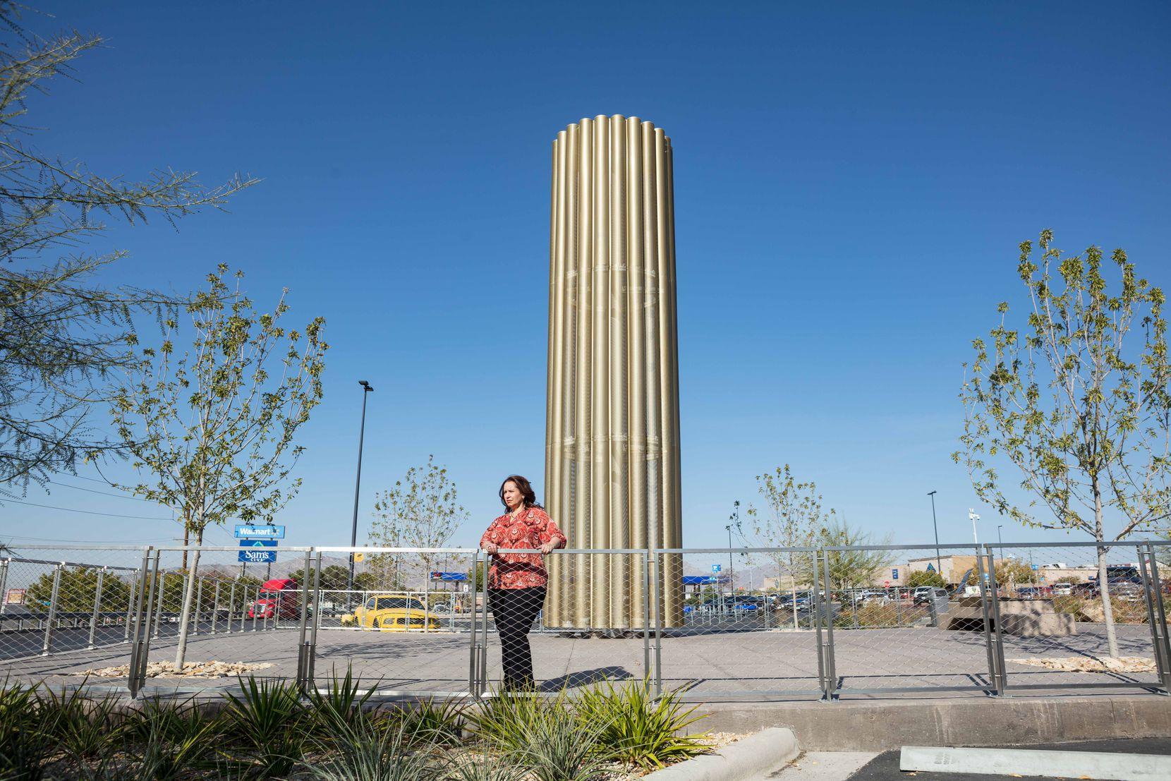 Angie Martinez at the Cielo Vista Walmart Candelaria Memorial in El Paso on Nov. 20, 2020.