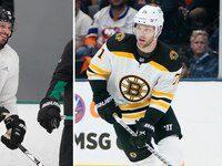 The Stars' Tyler Seguin (left) and the Bruins' Taylor Hall (right). Photos by The Associated Press.
