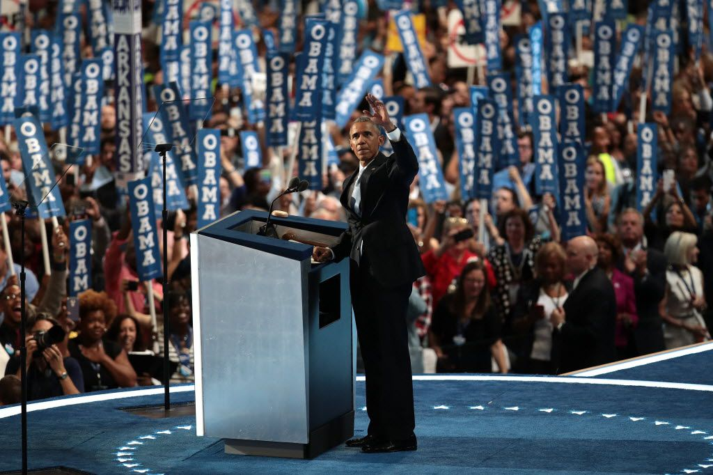 President Barack Obama acknowledged the crowd as he took the stage Wednesday night.