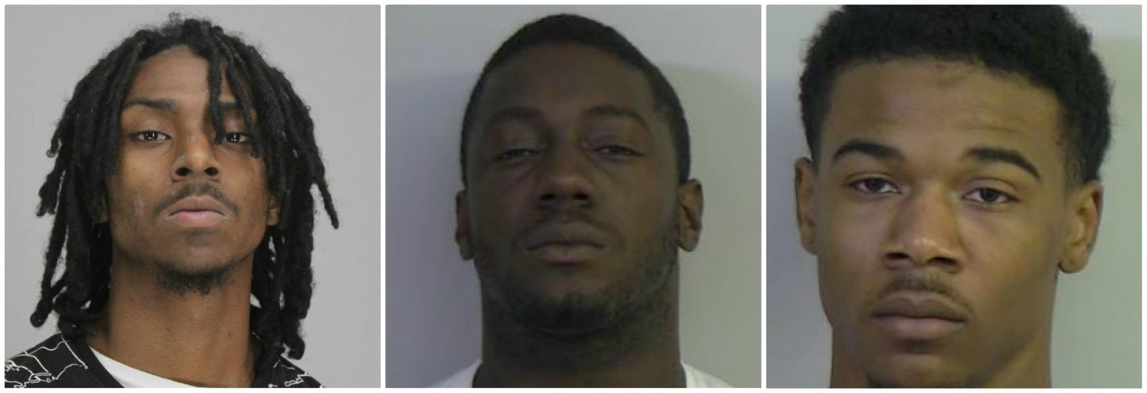 From left: Kiante Bernard Watkins, Milton Leroy Prentice III and Bryan Dominik Groom have been arrested in connection with the fatal home invasion robbery of Jimmy Giddings on June 24, 2018.