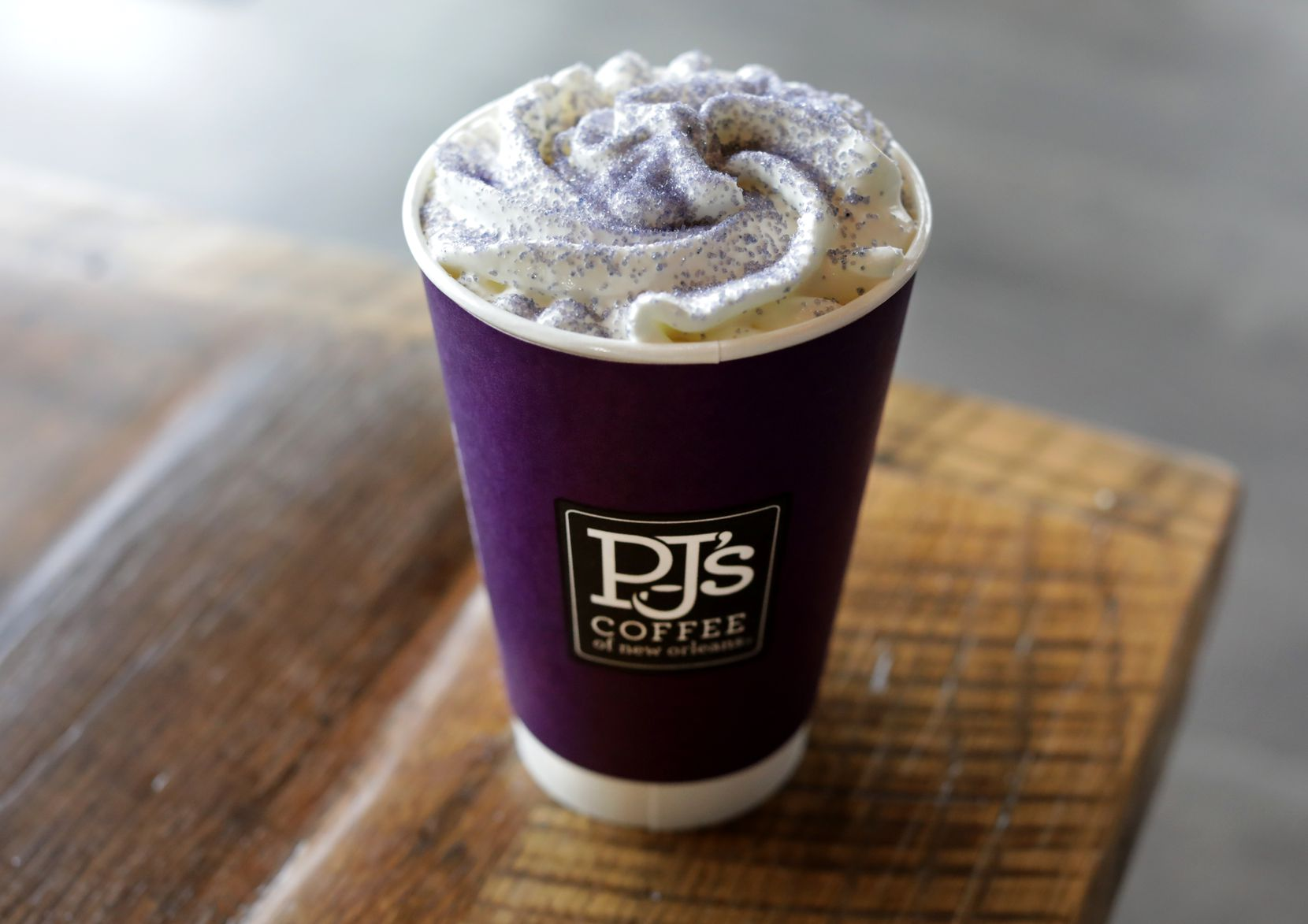 The king cake latte at PJ's is seasonal, available until the end of February.