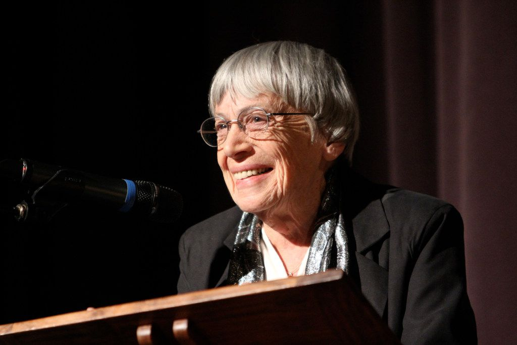 Ursula K. Le Guin at the University of Oregon campus in 2013.