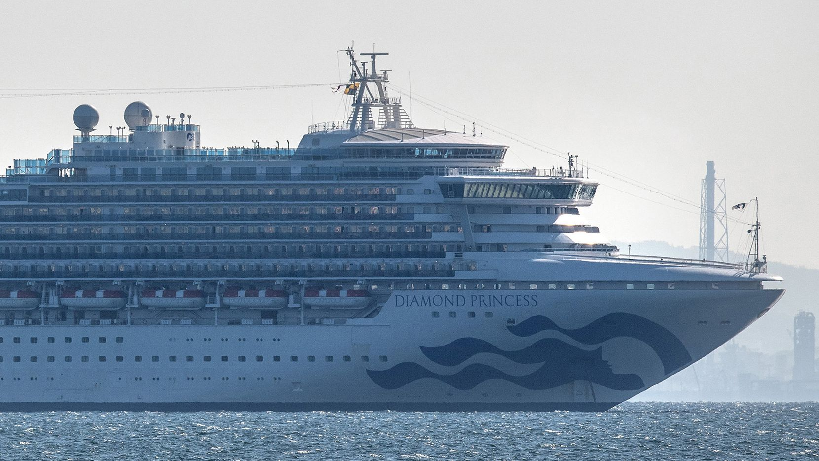 The Diamond Princess cruise ship docked in Japan after an outbreak of coronavirus on the ship.