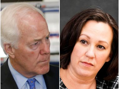 Sen. John Cornyn and Democratic challenger M.J. Hegar