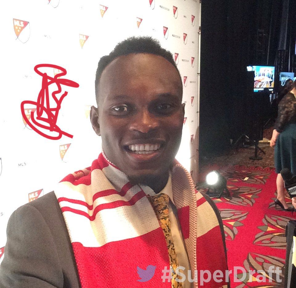 Francis Atuahene after being selected #4 overall by FC Dallas in the 2018 MLS SuperDraft