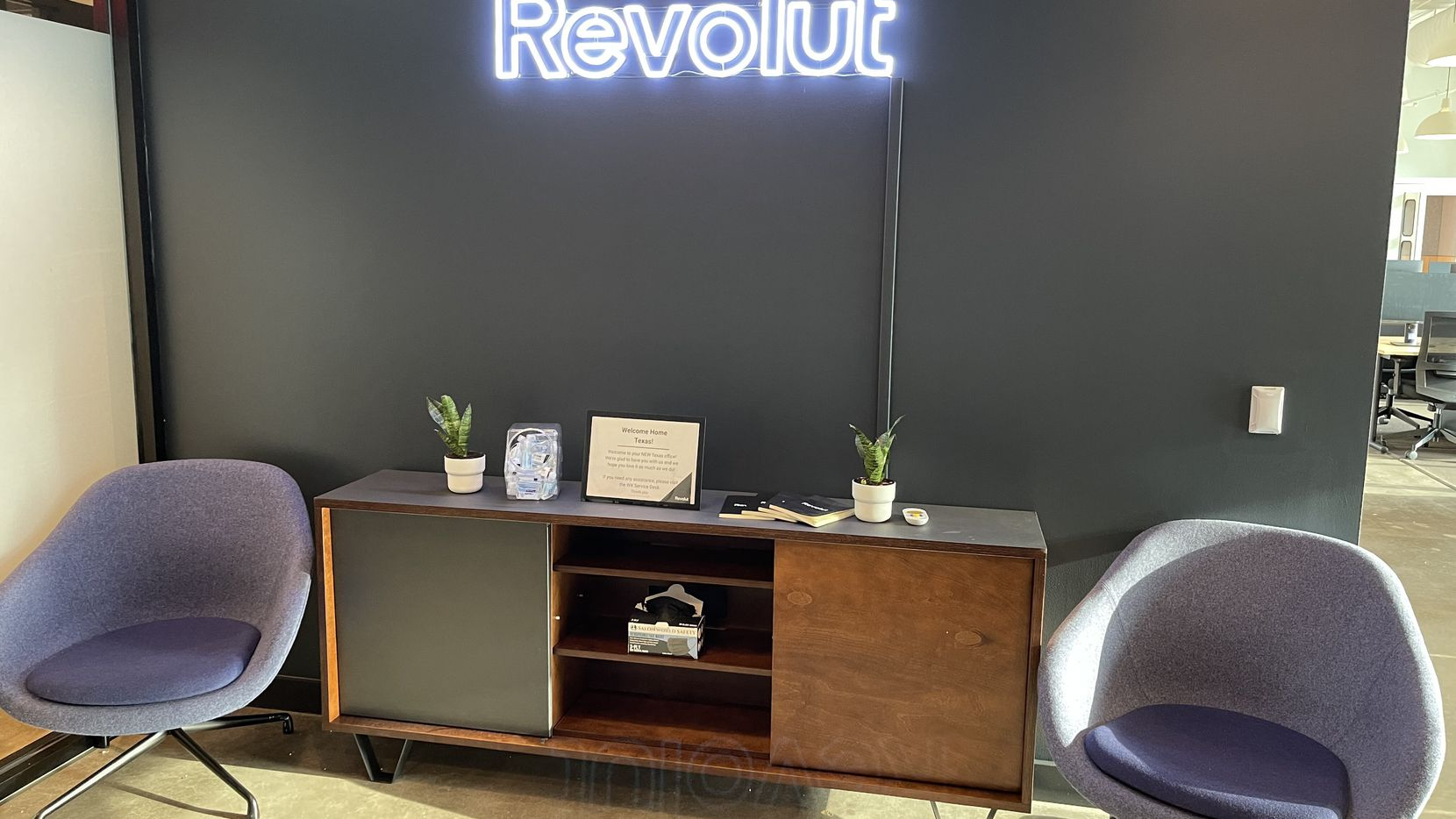 British fintech firm Revolut's 300-person WeWork office space on Dallas Parkway.