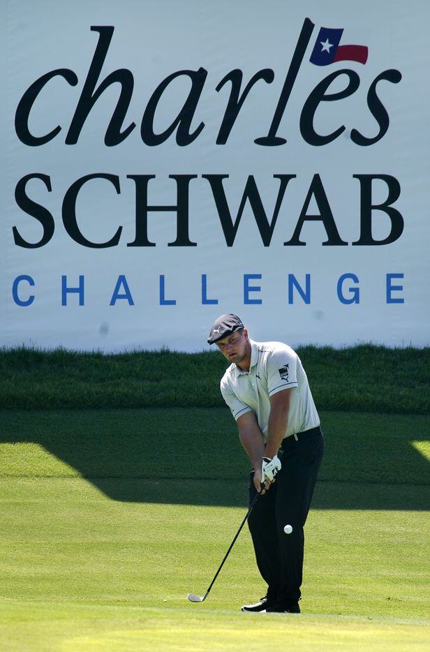 PGA Tour golfer Bryson DeChambeau chips onto the No. 13 green during the third round of the Charles Schwab Challenge at the Colonial Country Club in Fort Worth, Saturday, June 13, 2020.  The Challenge is the first tour event since the COVID-19 pandemic began. (Tom Fox/The Dallas Morning News)