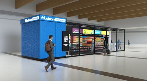 "A rendering of the Hudson Nonstop concept, which would feature Amazon's ""Just Walk Out"" technology. Customers would use the technology to scan a credit card, shop and then leave without checking out."