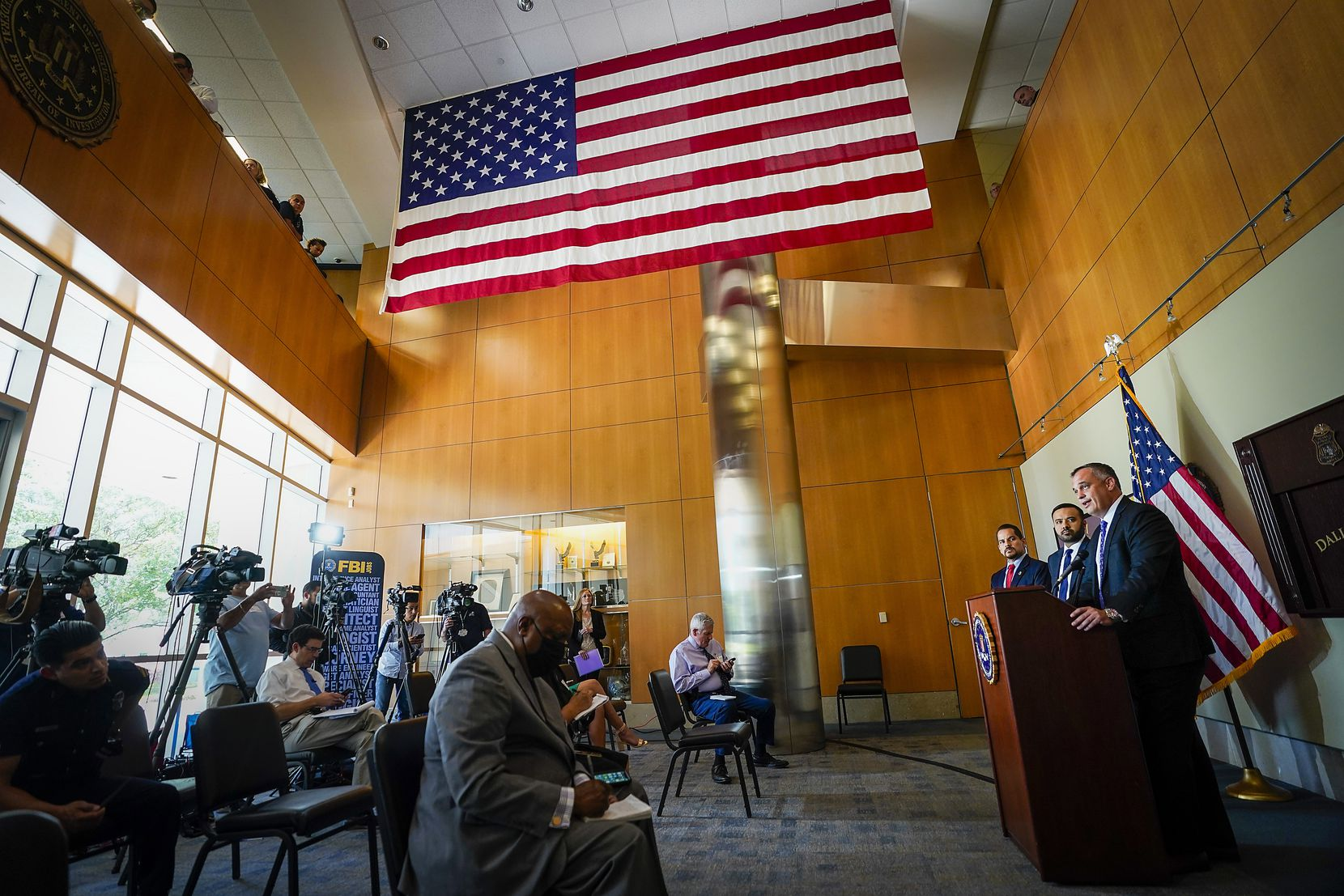FBI Special Agent in Charge Matthew DeSarno spoke at a news conference Thursday at his agency's Dallas office.