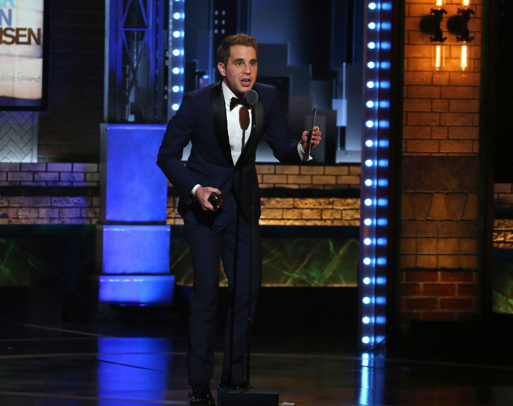 """Ben Platt accepts the award for best performance by an actor in a leading role in a musical for """"Dear Evan Hansen"""" at the 71st annual Tony Awards on Sunday, June 11, 2017, in New York. (Photo by Michael Zorn/Invision/AP)"""