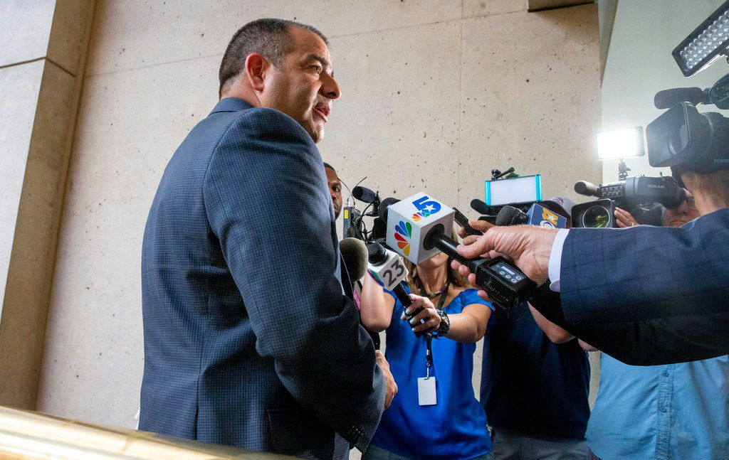 Mike Mata, president of the Dallas Police Association, gives remarks to the media following a City Council briefing on a Dallas Police Department staffing study and meet-and-confer on  Aug. 26.