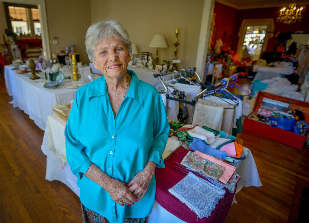 Harryette Ehrhardt in her home on Swiss Avenue where she's in the middle of an estate sale to dispose of 50-plus years of belongings.