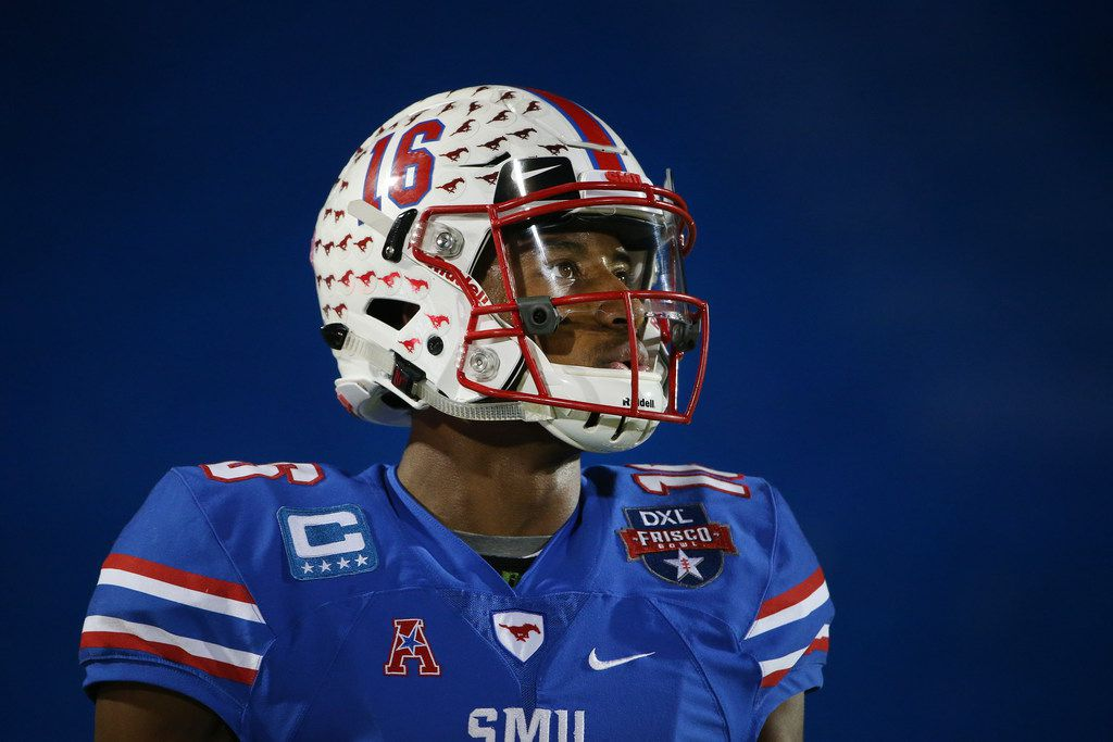Southern Methodist Mustangs wide receiver Courtland Sutton (16) during warm ups before his last game playing for SMU before the NCAA 2017 DXL Frisco Bowl between the Louisiana Tech Bulldogs and the SMu Mustangs at Toyota Stadium in Frisco, Texas Wednesday December 20, 2017. (Andy Jacobsohn/The Dallas Morning News)