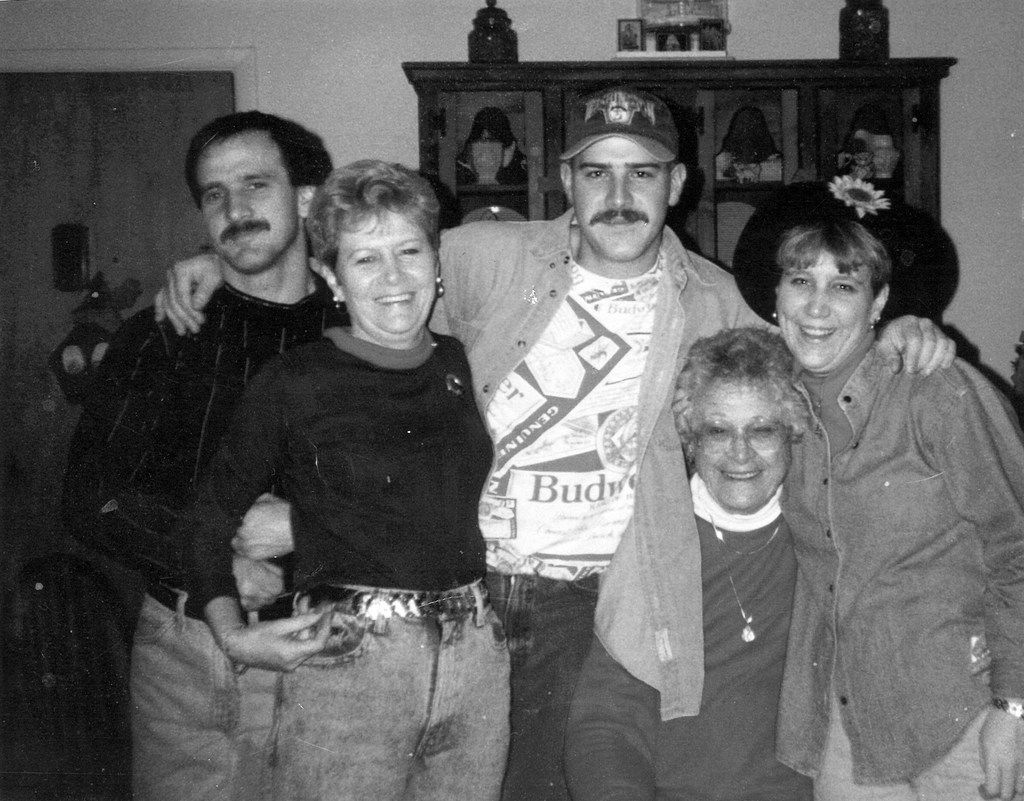 """A treasured photo shows some of Leah Waters' beloved family members. From left are her uncle Scott Anderson, grandmother """"Nana"""" Carol Compton, uncle Michael Armstrong, """"Maw"""" great-grandmother Vera Lockridge, and Waters' mother, Toni Smith."""