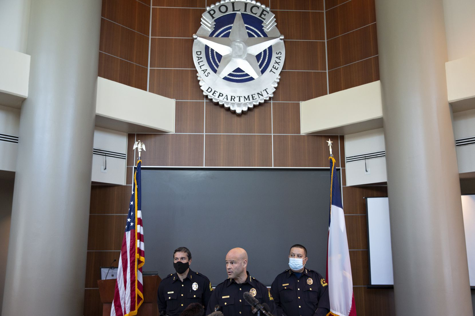 Dallas Police Chief Eddie Garcia speaks at a press conference in April to discuss the release of former Dallas police officer Bryan Riser.