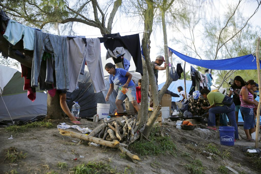 Migrants at the camp in Matamoros, México, on Nov. 5 2019,