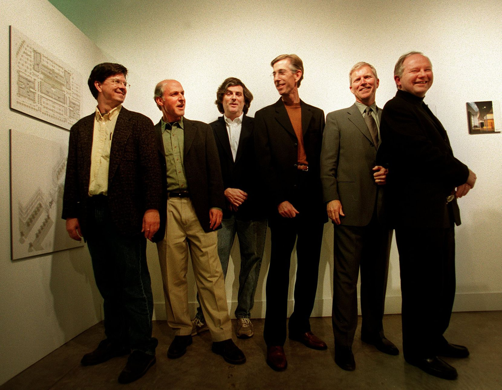 From left: Architects Dan Shipley, Max Levy, Gary Cunningham, Joe McCall and Lionel Morrison and curator Rick Brettell at the opening reception of the exhibit 'Five Dallas Modernist Architects' at the Visual Arts Building at the University of Texas at Dallas campus in 2002.