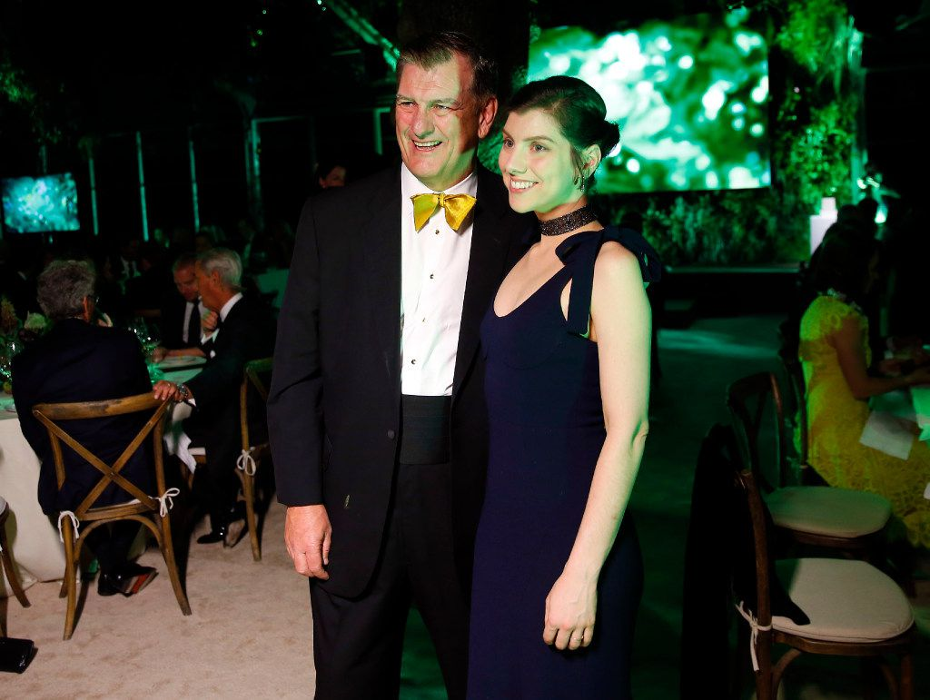 Mayor Mike Rawlings and his daughter Michelle Rawlings pose for a photo at the Nasher Prize ceremony gala at the Nasher Sculpture Center in Dallas, Saturday, April 1, 2017. (Tom Fox/The Dallas Morning News)