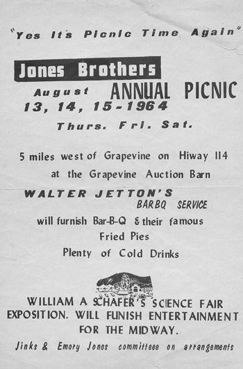Jinks Jones and his brother Emory Jones carried on a tradition from their father Bob Jones to host a community picnic.